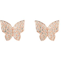 Latelita London - Rosegold Butterfly earring ($88) ❤ liked on Polyvore featuring jewelry, earrings, butterfly jewelry, red gold jewelry, rose gold jewelry, monarch butterfly earrings and white earrings