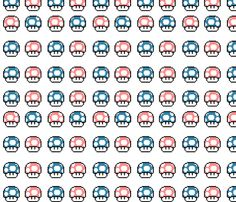 ORIGINAL GAMEBOY GAMES, in GAMEBOY COLORS! whoo whoo    <<<Pink and Blue Mario Mushrooms fabric by forgotten_fortune on Spoonflower - custom fabric
