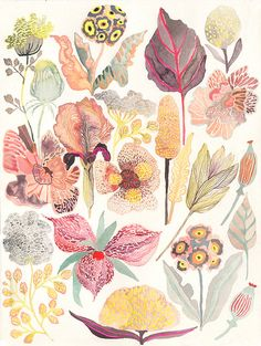 Botanicals No.3  Original painting by unitedthread on Etsy