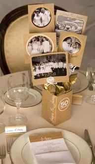 50th wedding anniversary ideas for party - Google Search. Jen this is an idea for displaying photo's instead of placing in frames, could incorporate into centerpieces.