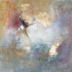 """""""Promises"""" 12x12 original abstract painting with gold leafing, Karen Hale"""
