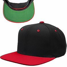 """Black/Red #Wholesale #Flexfit #Yupoong #FlatBill Two-Tone Pro Style Wool Blend Snap Back Hats """"The Original Old School Style""""  6-Panel, Structured 3 3/4"""" Crown, Flat Bill Green Undervisor 80% Acrylic, 20% Wool Plastic Adjustable Snap Closure Product Number: #6089MT : http://www.wholesalehats.com/Style-Number--6089mt #wholesalehats #hat #hats #cap #caps #baseballhat #baseballcap #baseballhats #baseballcaps #oldschool #og #customhats #customhat #customembroidery #wholesaleembroidery…"""