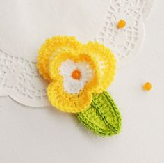 CROCHET YELLOW MOHAIR FLOWER PANSY BROOCH APPLIQUE DECORATION MOTHER'S DAY GIFT in Crafts, Needlecrafts & Yarn, Crocheting & Knitting | eBay!