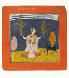 Ragamala painting, in opaque watercolour on paper, illustration to the musical mode todi ragini. A girl holding floral sprays accompanied by a deer.