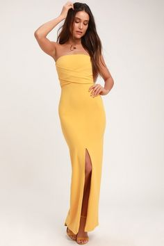 Own the Night Golden Yellow Strapless Maxi Dress Lovely Golden Yellow Dress – Strapless Dress – Maxi Dress – Gown Yellow Wedding Dress, Yellow Maxi Dress, Dress Wedding, Strapless Maxi, Strapless Dress Formal, Tight Dresses, Nice Dresses, Floral Dresses, Yellow Lace