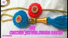 rakhi making /DIY CROCHET flower lumba rakhi Diy Crochet Flowers, Rakhi Making, Headband Pattern, Cowl, Knitting Patterns, Crochet Necklace, How To Make, Knit Patterns, Cowls