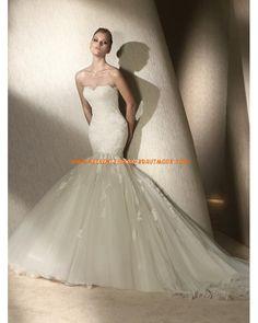 Sexy modische Brautkleider mit Spitze und Tüll Meerjungfrau mit Schleppe
