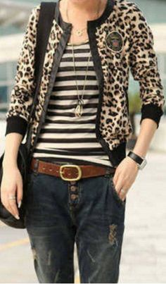 leopard cardi, striped shirt, brown belt, jeans