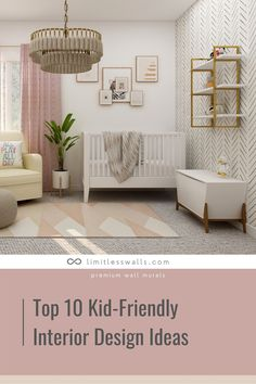There are plenty of ways to incorporate kid-friendly interior design into your home without sacrificing style. Here are 10 of the top kid-friendly interior design ideas for your home. | Limitless Walls - Premium Wall Murals Nursery Wall Murals, Mural Ideas, Man Cave, Custom Design, Bedroom Decor, Walls, Design Ideas, Interior Design, Blog