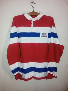 Sale Rare !! Vintage Polo Ralph Lauren Polo Sport Ruby jersey Stripes Designs Small Logo United States Flag Logo Unisex Sz L by Psychovault on Etsy