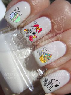 Snoopy Easter Nail Art Nail Water Decals