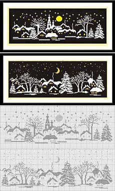 Родителям о детях, развлечения и обучение для детей » Новогодняя вышивка крестом. Картина «Деревня зимней ночью» 2 варианта