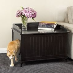 Create a discreet litter box for your four-legged friend with this chic enclosure, a perfect stage for an eye-catching lamp and a stack of glossy magazines.<br/>
