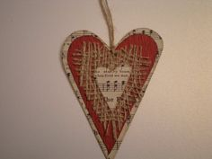 Rustic Shabby Heart OrnamentFor Valentines Day  by thingsbyjuju