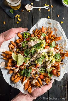 Mexican Nacho Fries, you ask? That's right! These babies are everything food truck dreams are made of: sweet potato fries smothered in melted white cheddar, roasted corn, black beans, cherry tomatoes, jalapenos, red onions, and guacamole then drizzled with creamy/ spicy chipotle crema. Add this recipe to your must-make Super Bowl/ game day party list; your friends will love you for it.   theendlessmeal.com