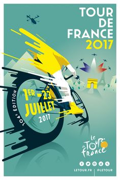 Tour de france 2017 by raphaël teillet creative posters, cool posters Sports Graphic Design, Graphic Design Posters, Graphic Design Inspiration, Sport Design, Poster Designs, Design Ideas, Poster Ideas, Layout Design, Print Design