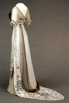 Edwardian gown. I believe it's a Worth gown, however I cannot be positive. The gown's stunning embroidery completes the overall effect of elegance.