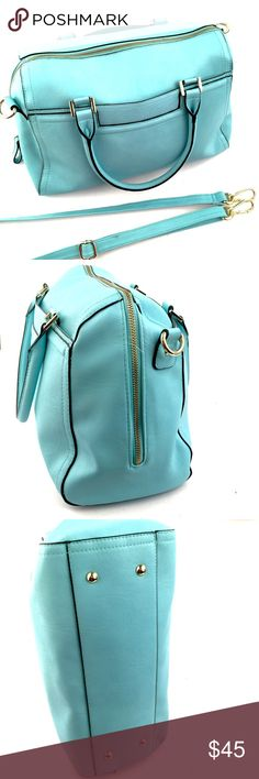 """Merona Satchel 14"""" L x 9"""" W blue Merona handbag with adjustable shoulder strap included. 2 outside pockets and 3 inside pockets for phones, keys, etc.  • Please Note: All images are taken by me and are the exact same item you would receive if you decided to purchase.      •  No Trades Merona Bags Satchels"""