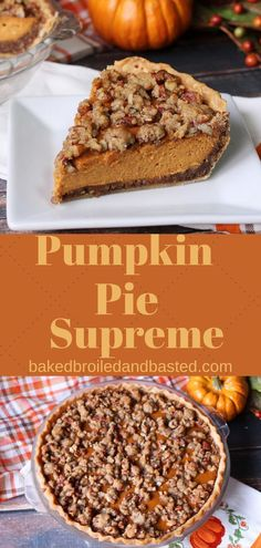 This Pumpkin Pie Supreme is a perfect addition to your holiday table. It is full of yummy pumpkin spiced layers and is a beautiful and delicious pie. Thanksgiving Desserts Easy, Great Desserts, Fall Desserts, Delicious Desserts, Dessert Recipes, Thanksgiving Table, Dessert Ideas, Drink Recipes, Holiday Pies
