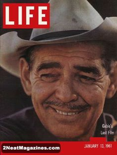 Life Magazine January 13, 1961 : Cover - Clark Gable's last film, big image of Gable's face in a cowboy hat.