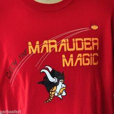 """Catch Marauder Magic"" XL T-Shirt Vintage NWOT Viking Mascot USA Football Spirit"