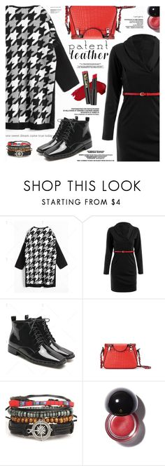 """City Slickers: Patent Leather"" by katjuncica ❤ liked on Polyvore featuring LBD, patentleather, redbag, patentleathershoes and houndstoothcardigan"