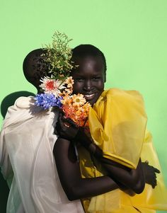 Alek Wek & Grace Bol. All clothes Rick Owens.