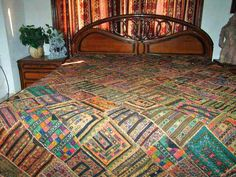 Kutch Tribal Embroidered India Bedspreads Mirror Brown Wall Tapestry Throw | eBay Brown Walls, Bed Spreads, Wall Tapestry, Ethnic, Embroidery, Mirror, Antiques, Interior, Bohemian