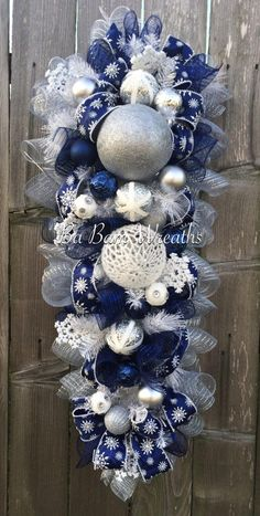 Blue White Christmas Stunning Blue Christmas by BaBamWreaths Christmas Door Hangings, Silver Christmas Decorations, Christmas Mesh Wreaths, Christmas Swags, Christmas Centerpieces, White Christmas, Christmas Crafts, Door Wreaths, Burlap Christmas