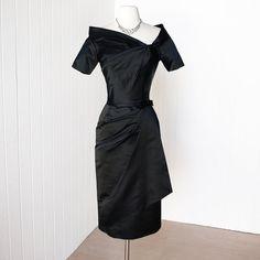 vintage 1950's dress ...ultimate designer bombshell CEIL CHAPMAN black silk satin pin-up cocktail party dress