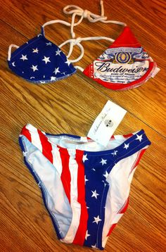 758f58eb35 Budweiser Beer Vintage Beach Bikini Swimsuit Size 7 by BmoreUnique
