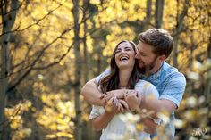 Love & laughs during a fall engagement session in Kananaskis Country | Calgary wedding photographer