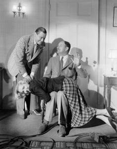 Director William A. Seiter shows Herbert Marshall how to tame Jean Arthur in this playful photo for If You Could Only Cook Old Hollywood Stars, Golden Age Of Hollywood, Classic Hollywood, Herbert Marshall, Jean Arthur, Getting Spanked, Spanking Art, Actors Male, Actor Studio