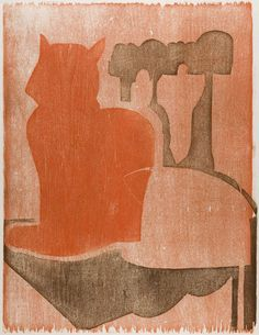 """""""Irene Near the Old Chair"""", 1978, Susan Moore, American (b. 1926), woodcut on paper, 15 x 11 1/4 in. Museum purchase with funds from the BenefactorsFund, 1980. 1980.2689"""