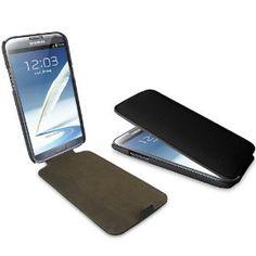 iTALKonline PREMIUM FIBRA DI CARBONIO NERO Clip On Flip Case / Cover / Custodia Per Samsung N7100 Galaxy Note 2