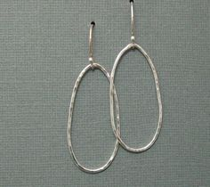 Long Lazy Sterling Handcrafted Hoop Earrings, Artisan Handmade Sterling Hoop Earrings. $38.00, via Etsy.