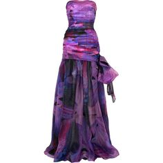 Printed silk-organza gown (7.195 RON) ❤ liked on Polyvore featuring dresses, gowns, vestidos, long dresses, women, strapless dress, purple gown, long purple dress, purple strapless dress and sheer dress