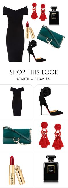 """"""""""" by olgakurganova ❤ liked on Polyvore featuring Maje, Christian Louboutin, Chloé and Chanel"""