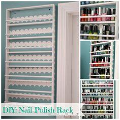 DIY Hanging Nail Polish Holder Featuring Shape Tape™ Scalloped Designs #nailpolish #nailpolishholder #DIY