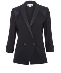 Helmut Lang Black Leather Insert Double Breasted Blazer | Women's Jackets | Liberty.co.uk Blazers For Women, Jackets For Women, Women's Jackets, Double Breasted Blazer, Helmut Lang, Liberty, Black Leather, London, Luxury