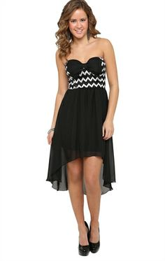 Deb Shops High Low #Dress with #Chevron Bodice and Bow Accent $25.83