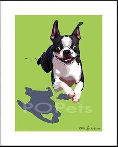 Boston Terrier on the run. $15.00, via Etsy.