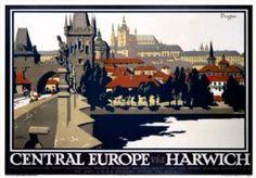 Central Europe via Harwich, Prague. LNER Vintage Travel Poster by Frank Newbould. 1925