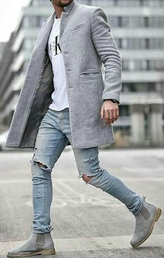 Perfect coordination between the gray suit and boots, ck tee and distressed jeans. Mens Boots Fashion, Mens Fashion Suits, Fashion Outfits, Men's Fashion, Fashion Sale, Fashion Kids, Paris Fashion, Runway Fashion, Trendy Fashion
