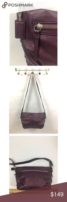 "Coach Leather Handbag Purse In Eggplant Purple Excellent used condition, the light gray satin interior is spotless. Deep rich eggplant purple leather with stamped signature coach design. 12x8x4 with 22"" strap drop that's adjustable. Coach Bags Shoulder Bags"