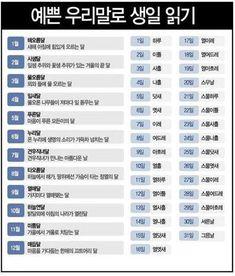 우리말로 생일 읽기 Rare Words, Korean Language, Mbti, Wise Quotes, Cool Words, Infographic, Names, Writing, Funny