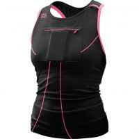 Gracie's Gear: Long_Black_hotpink_front_square tank top with built-in phone/keys/id holder
