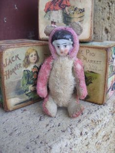 MINIATURE DOLL 10cm ooak Handmade primitive vintage old antique artist miniature mohair mini gift teddy bear Katy Nissen Raggy Bears