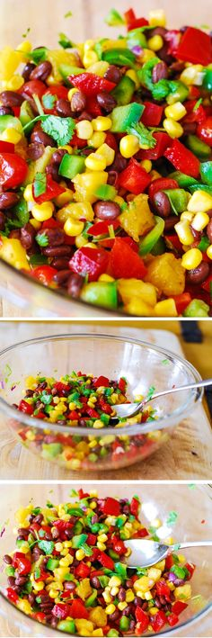 Southwestern salsa with black beans bell peppers tomatoes corn and pineapple. Vegetarian gluten-free vegan low in fat and low in calories. Healthy Dishes, Healthy Salads, Healthy Eating, Healthy Foods, Mexican Food Recipes, Vegetarian Recipes, Cooking Recipes, Healthy Recipes, Good Food