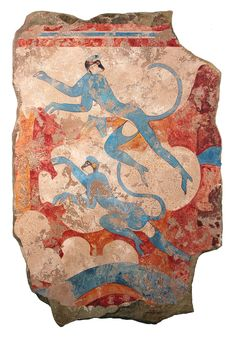 The Blue Monkeys: From our Akrotiri Collection which features frescos from the ancient Minoan City of Akrotiri on the island Santorini. Monkeys, indigenous to Egypt, held an important place in ancient Egyptian theology. Possibly brought to the island as gifts and pets, a monkey's skull was found in Thera and is evidence of the artist's ability to study the animals first-hand.